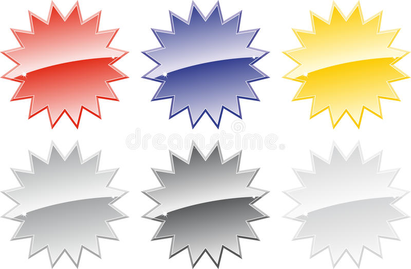 Metal_stars_6. Collection of six star icons in metallic look with light reflection and 3D-effect in red, blue, yellow and three grey scales royalty free illustration