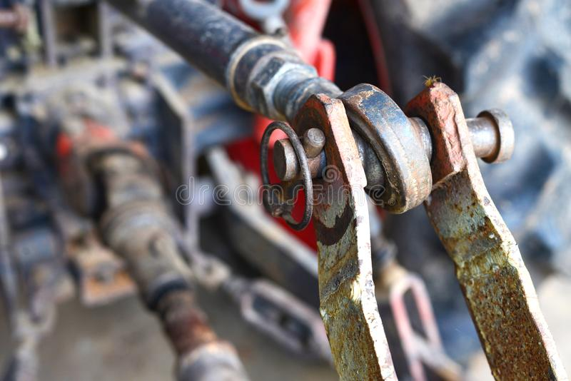Metal steel drive shaft a large size ball bearing support stock photos