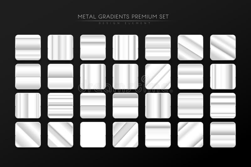 Metal steel gradient premium set stock illustration