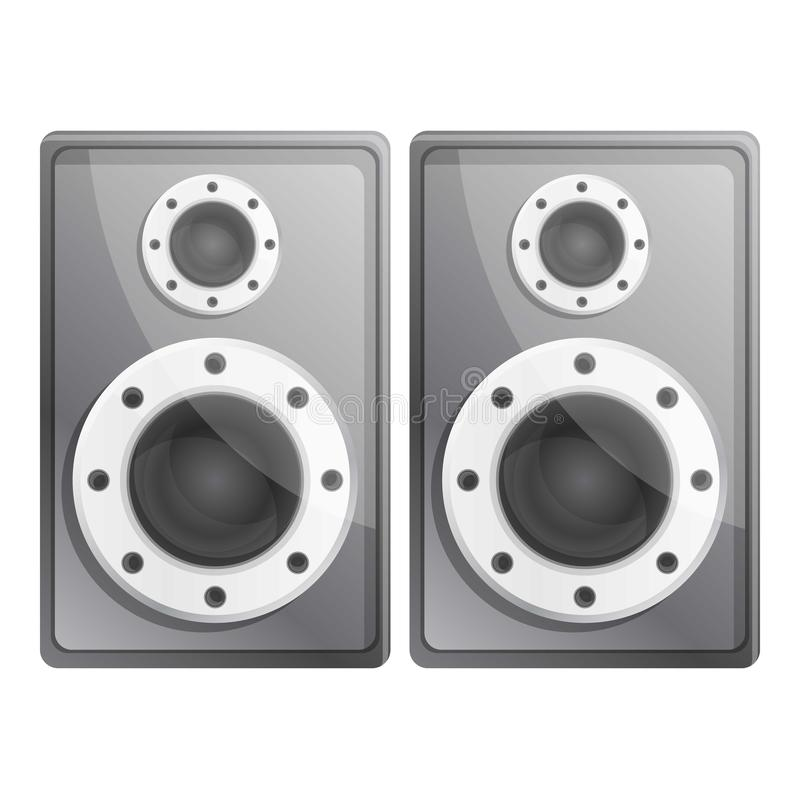 Metal stereo speakers icon, cartoon style royalty free illustration