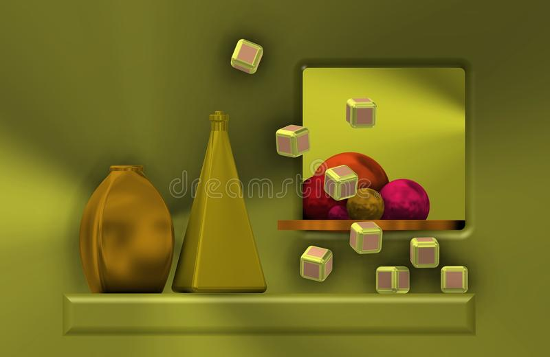 Metal still life with cubes stock illustration