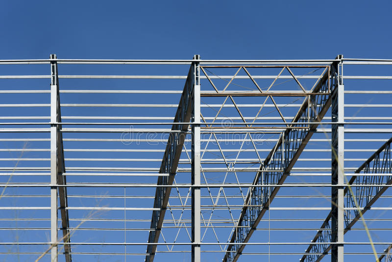 Metal structure of industrial warehouse royalty free stock photography