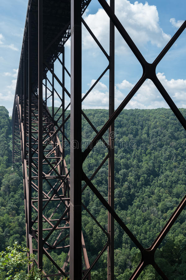 Metal structure of the New River Gorge Bridge in West Virginia. Detail of the structure of the girders of the high arched New River Gorge bridge in West Virginia royalty free stock photography
