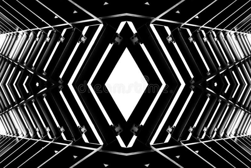 Metal structure similar to spaceship interior. Metal structure similar to spaceship interior, black and white photo royalty free stock photos