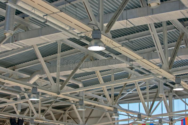 Metal structure on warehouse royalty free stock photos