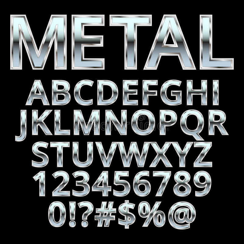 Metal style alphabet . stock illustration
