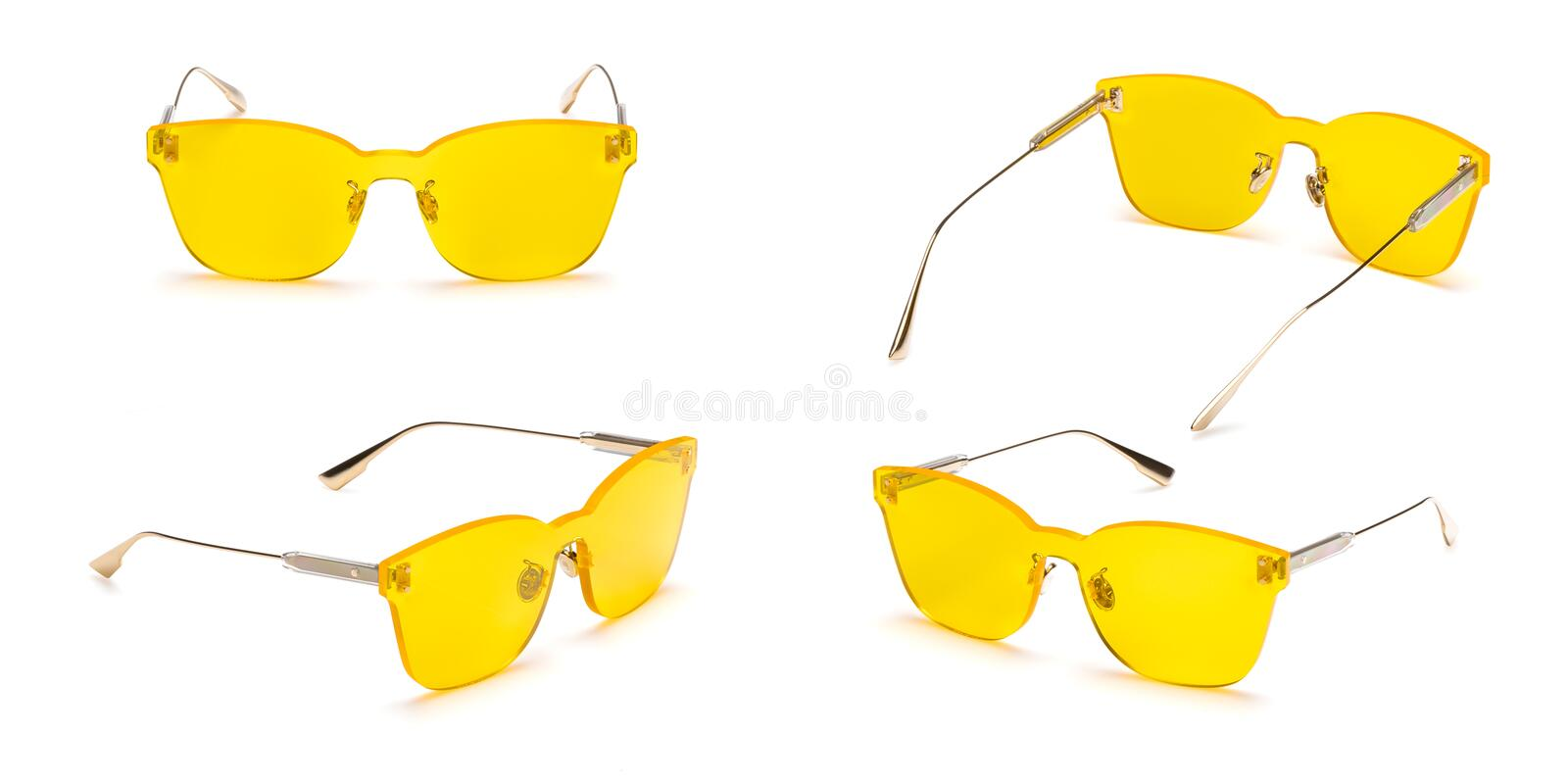 Metal sunglasses with polarizing yellow gradient Mirror Lens isolated on white background. Fashionable summer glasses collection royalty free stock photos