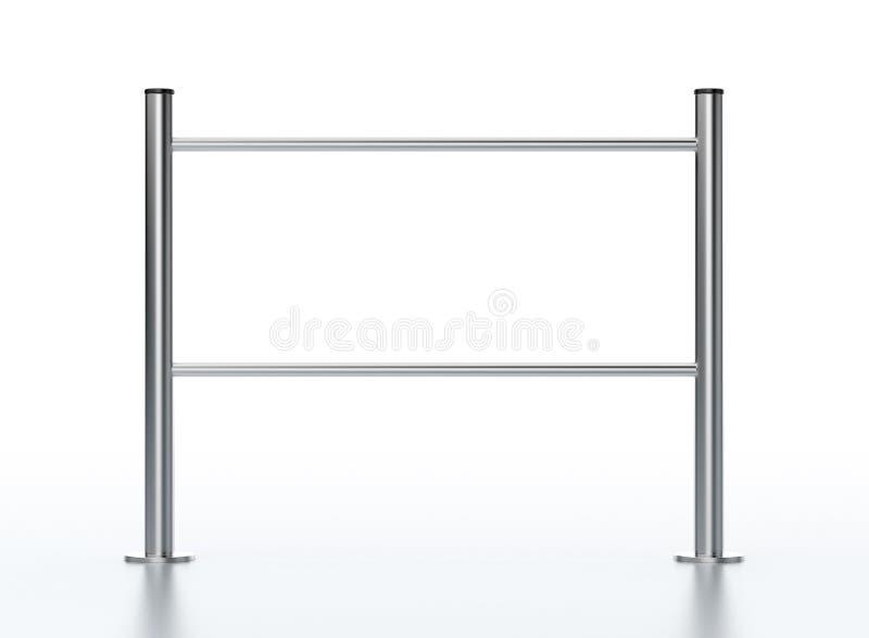 Metal supermarket barrier. On white stock illustration