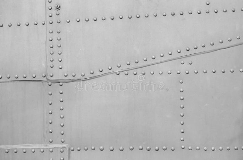 Metal surface of military aircraft.  stock image