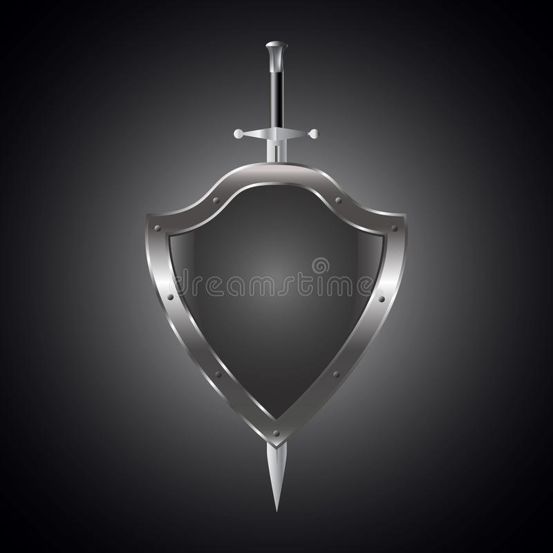 Metal swords and shield vector illustration. royalty free illustration
