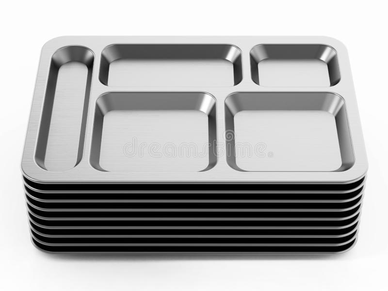 Metal table d`hote trays isolated on white background. 3D illustration.  vector illustration