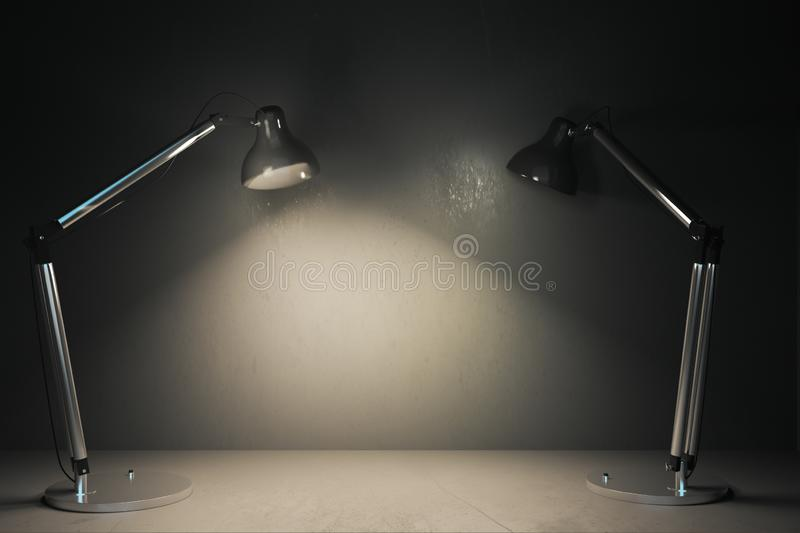 Metal table lamps stock illustration