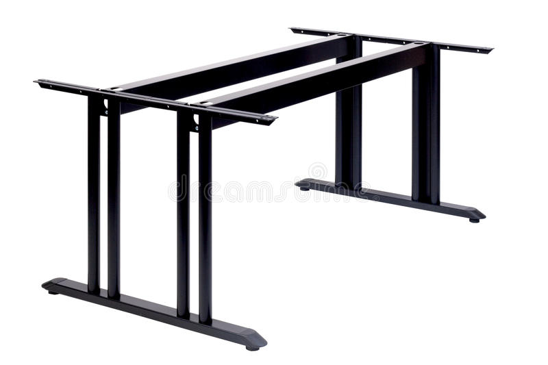 Metal table with two legs. No desk stock photo
