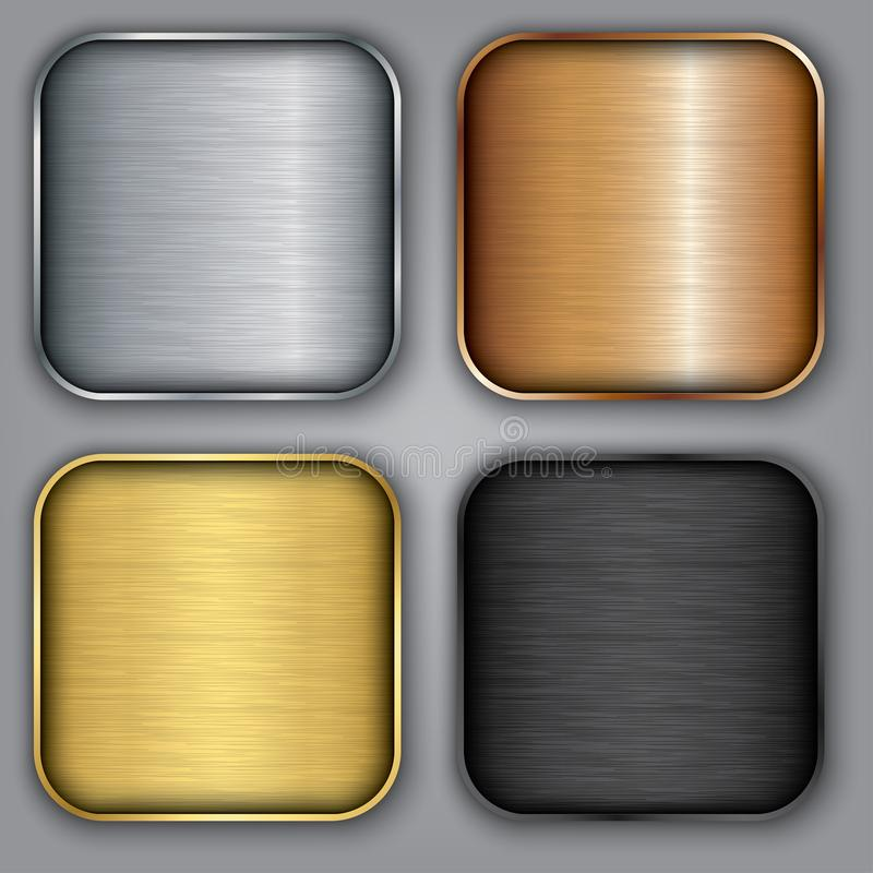 Metal templates set with texture, metal button set with texture, silver, gold, bronze, vector illustration. Metal templates set with texture, metal button set royalty free illustration
