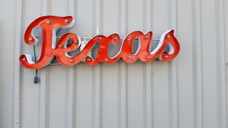 Metal Texas Wall Word to Hang and light up royalty free stock photo