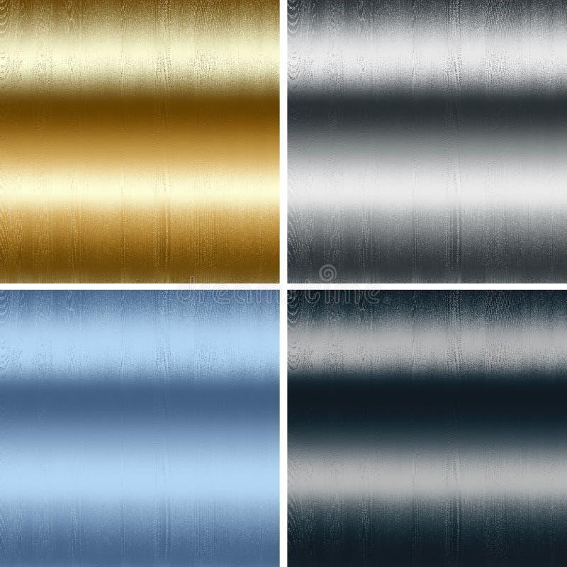 Metal texturas coleção, preto azul de prata do ouro ilustração royalty free