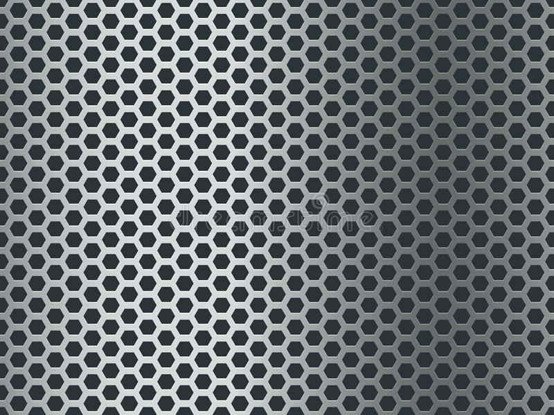 Metal texture pattern. Seamless steel plate, stainless mesh. Chrome hexagon grunge aluminum perforated mosaic finish vector illustration