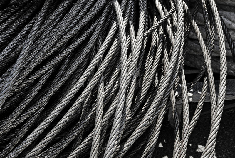 Metal texture patters of steel cable metal cords in industry and bonding concept. Metal texture patters of steel cable metal cords in industry concept stock photos