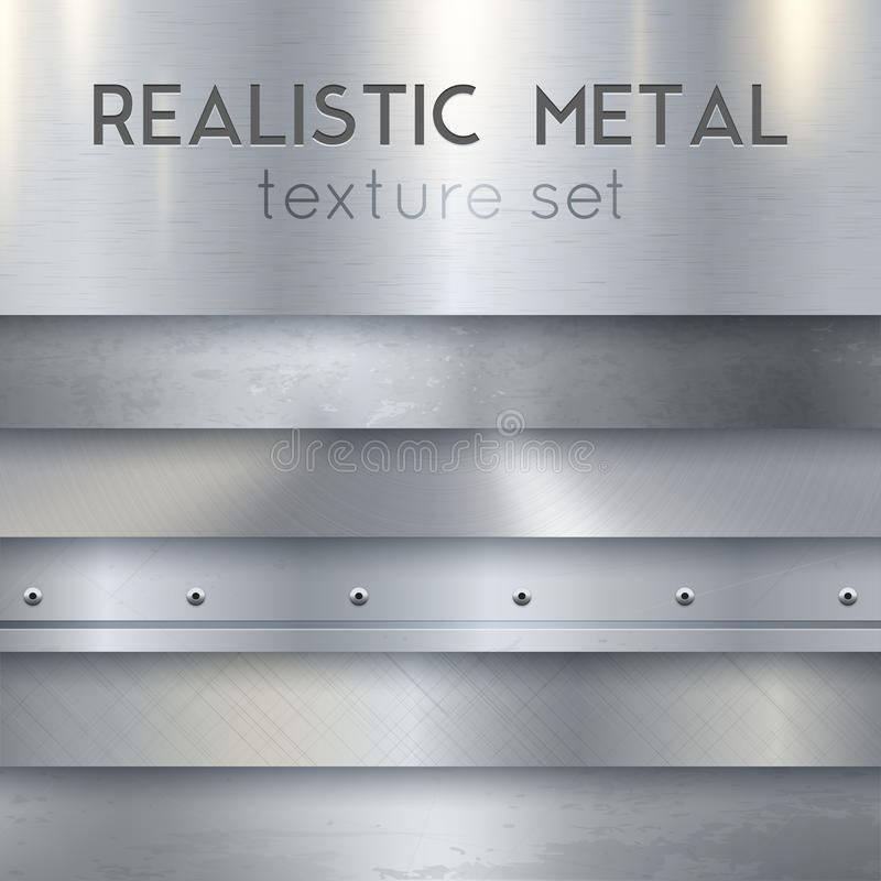 Metal Texture Realistic Horizontal Samples Set. Metal texture realistic sheets horizontal banners set of panels surface finish patterns samples with rivets stock illustration