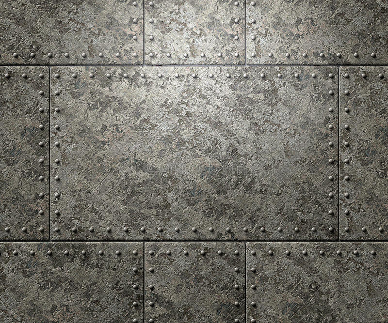Metal texture with rivets background. Metal texture with plates and rivets background 3d illustration royalty free illustration