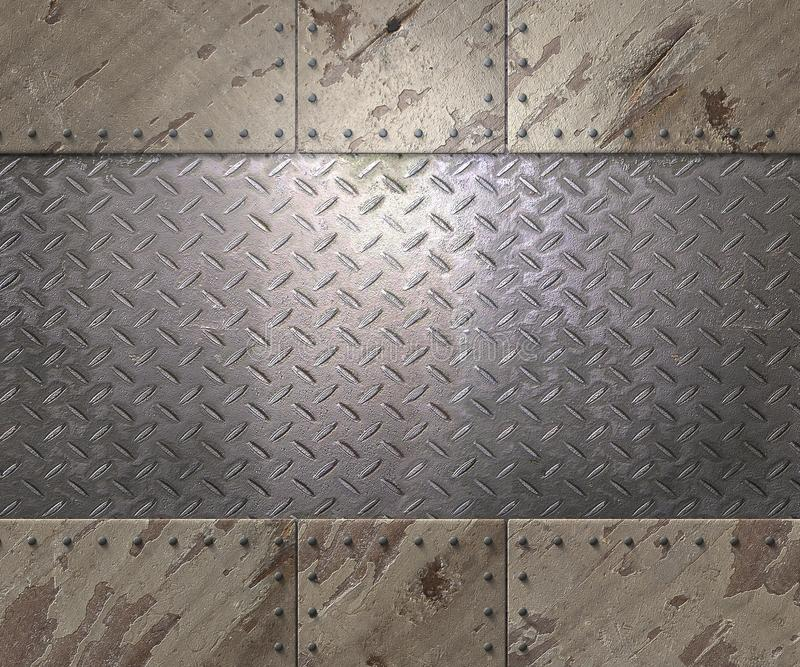 Metal texture with rivets background. Metal texture with plates and rivets background 3d illustration stock illustration