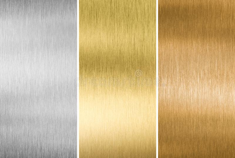 Metal textures gold, silver and bronze stock photography