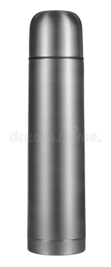 Metal thermos. Isolated on white background royalty free stock photos