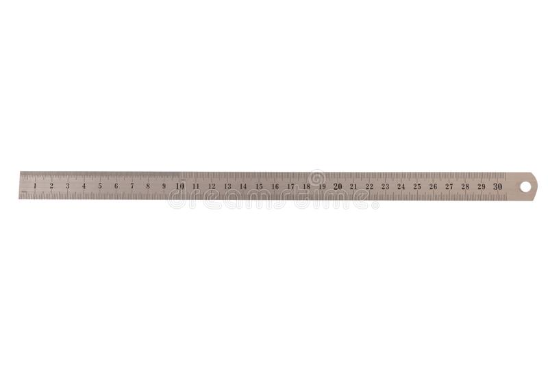 Metal thirty centimeters ruler isolated on white stock photos