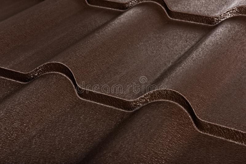 Metal tile isolated. Modern roofing material. Diagonal texture stock images