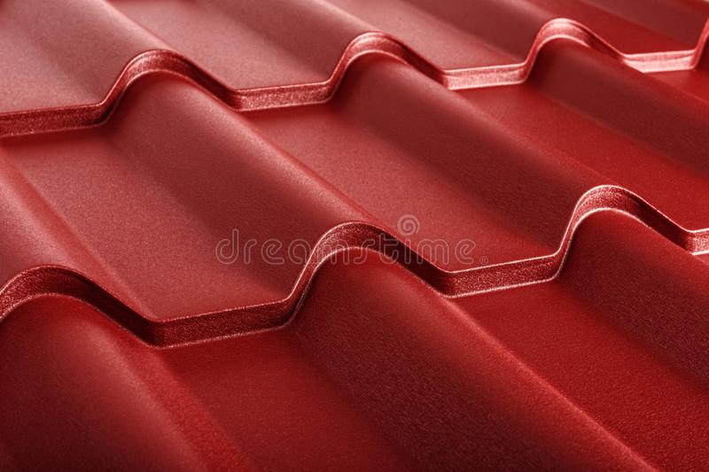 Metal tile isolated. Modern roofing material. Diagonal texture royalty free stock photography
