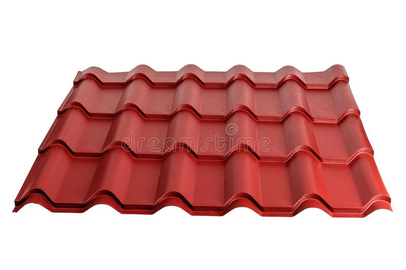 Metal tile isolated on white background. Material for roof royalty free stock photos