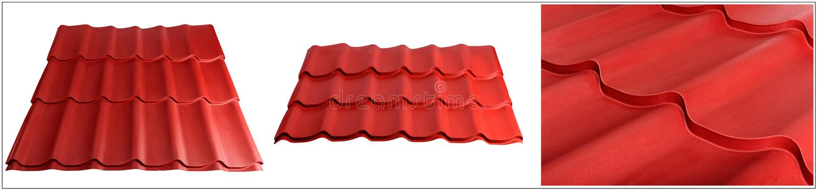 Metal tile, modern material for the roof of houses. The set is made specifically for specialized Internet sites stock photo