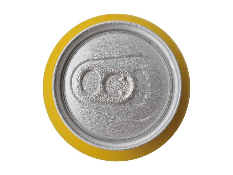 Metal tin of beer from above close up with moisture drops on a surface. Isolated on a white background.  stock photos