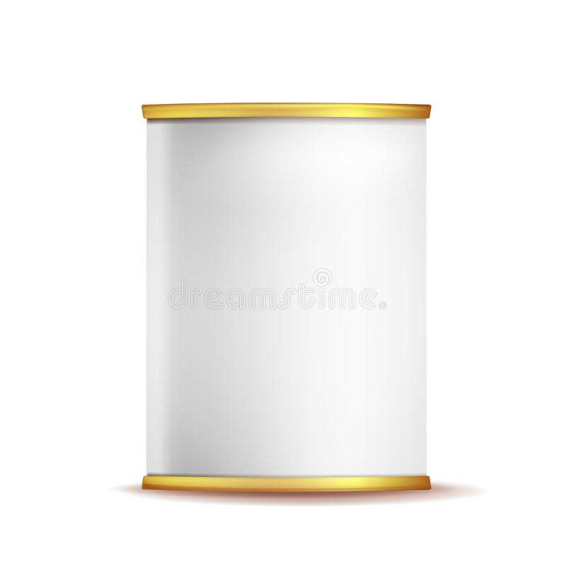 Tin Box Can Template Vector. 3d Realistic Empty Packaging Container Blank. Food Container. Isolated On White Background vector illustration