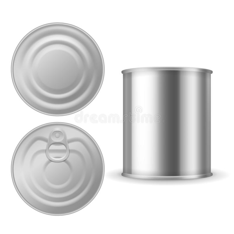 Metal tin can. Canned foods mockup, aluminium steel package closed with ring pull, realistic silver blank vector stock illustration