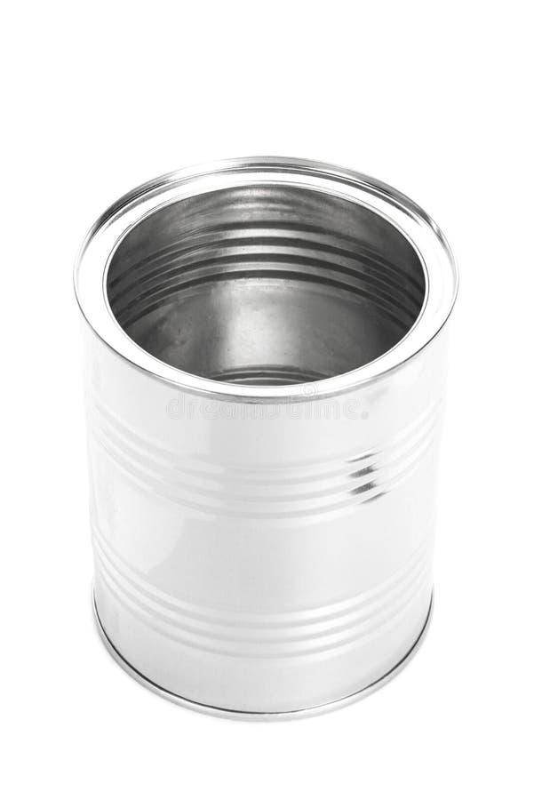 Metal a Tin Can, comida enlatada, aislada en el fondo blanco fotos de archivo libres de regalías