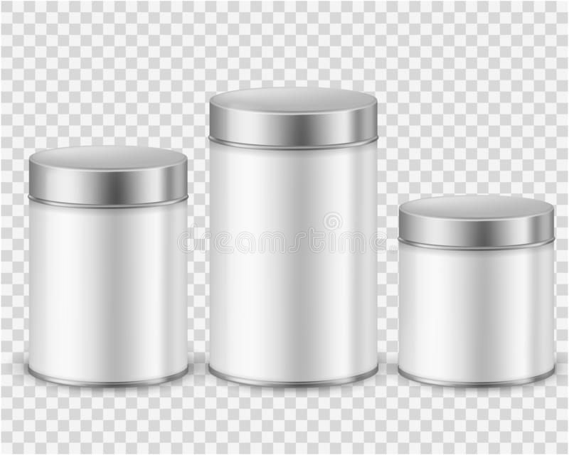 Metal tin can container. Template packaging dry products tea coffee sugar cereals spice powder rounded cans mockup vector illustration