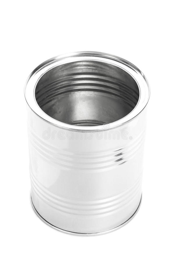 Metal Tin Can, nourriture en boîte, d'isolement sur le fond blanc photos libres de droits