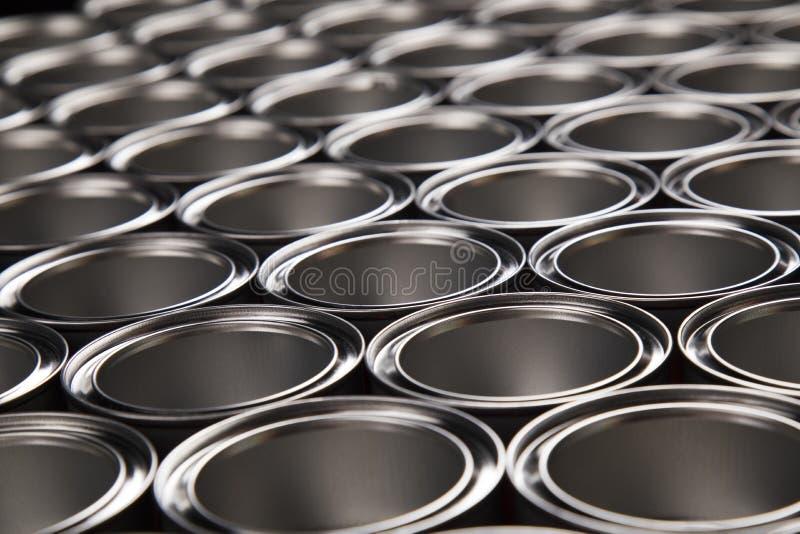 Metal tin paint cans. Tin metal cans, Painting background stock photos