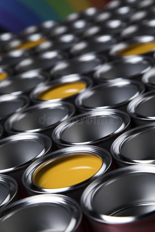 Metal tin paint cans. Tin metal cans, Painting background stock image