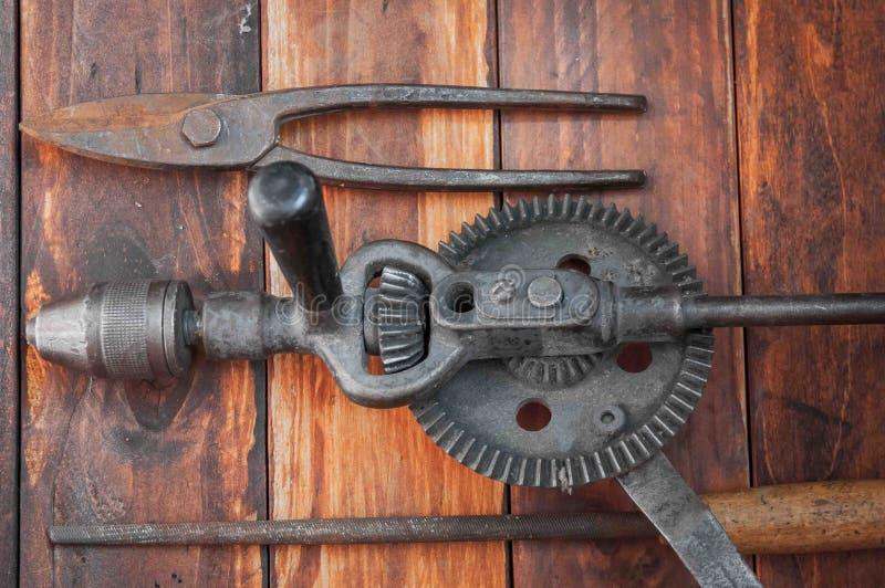 Metal tool. S for plumbing repairs, metal saws, pliers, metal shears, retro tools stock image