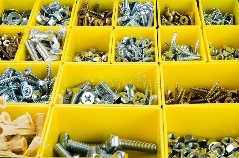 Metal tools set in yellow toolbox for background royalty free stock images