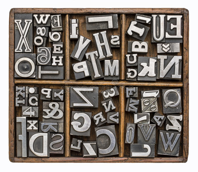 Metal type alphabet royalty free stock image