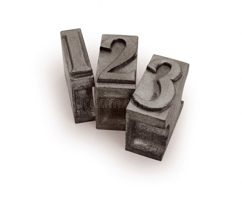 Metal typographic letters forming 1,2,3 stock photo