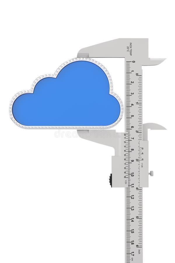Metal vernier caliper with Cloud Icon vector illustration