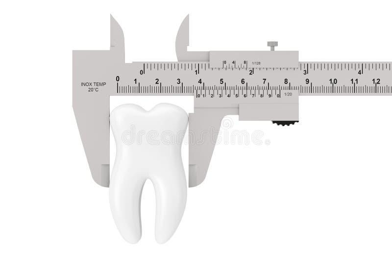 Metal Vernier Caliper con el diente blanco representación 3d foto de archivo libre de regalías