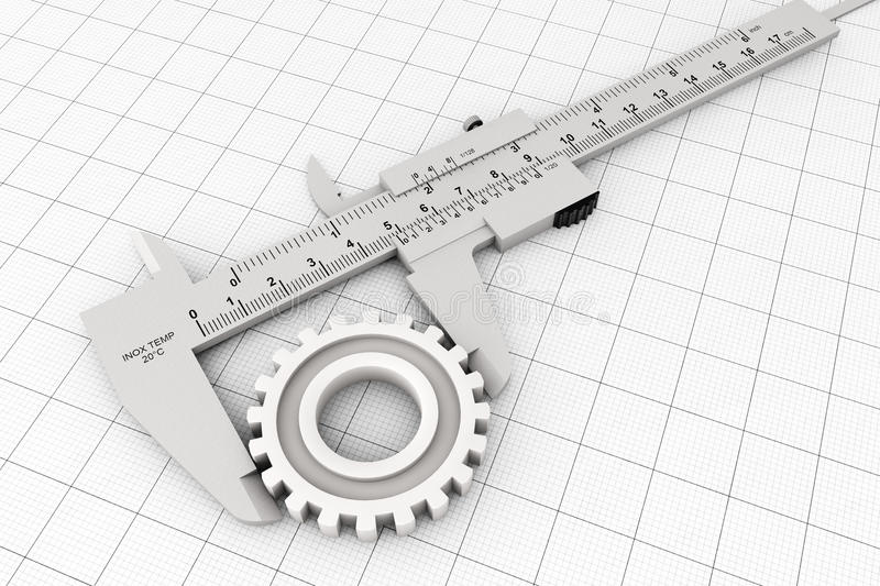 Metal Vernier Caliper over Graph Paper. On a white background royalty free stock photography