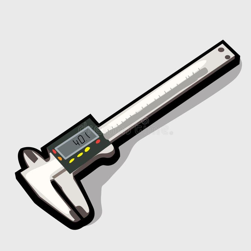 Metal Vernier caliper. Series of hard working tool stock illustration