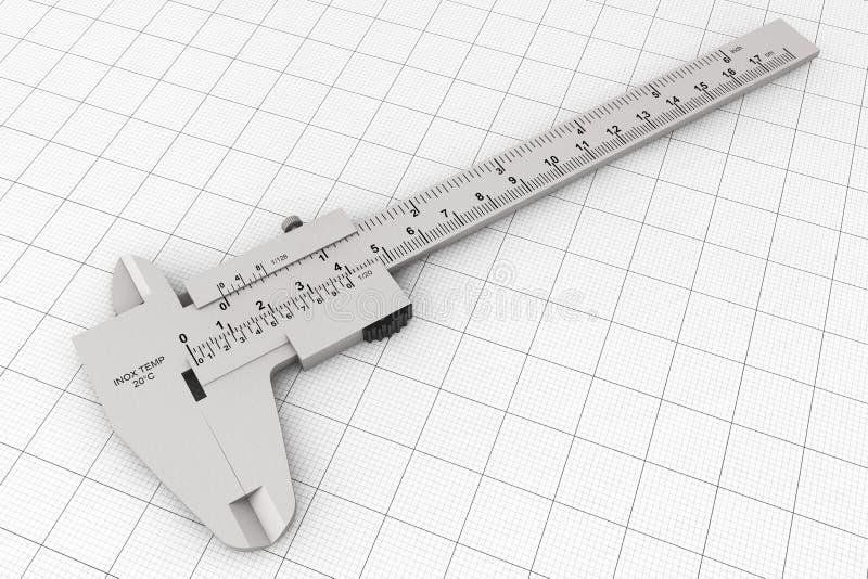 Metal Vernier Caliper sobre el papel cuadriculado imagen de archivo libre de regalías