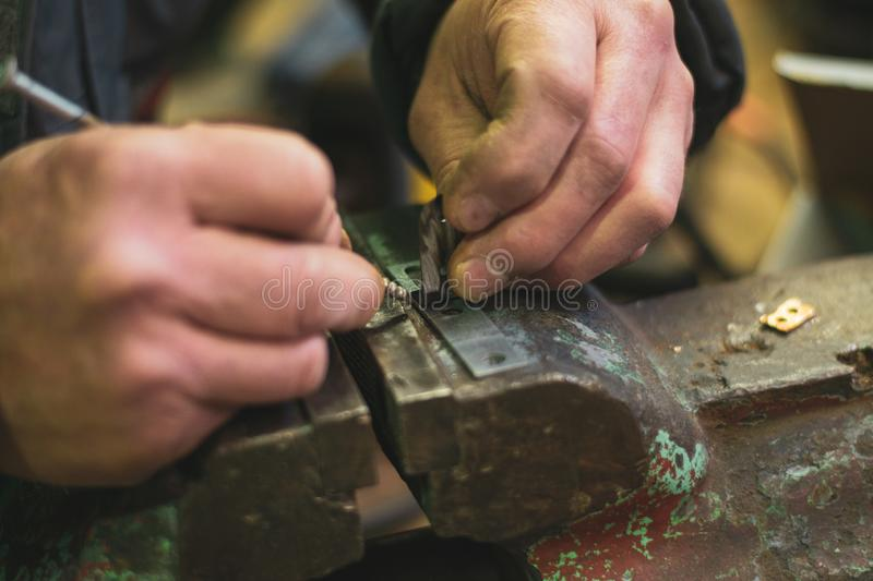 Metal vice and craft work stock photo